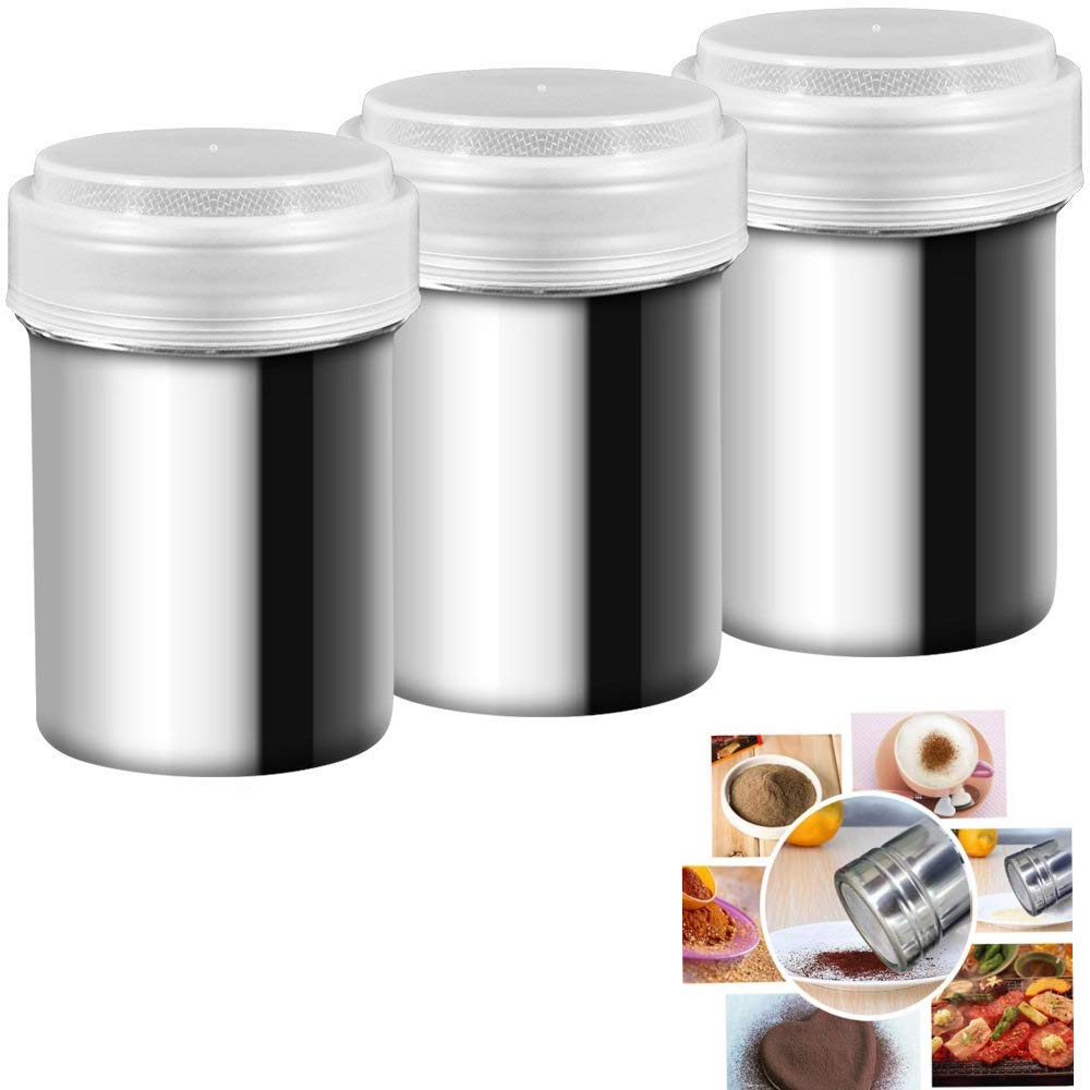 Stainless Steel Powder Shakers - for Coffee Cocoa Cinnamon Powder with Lid for Baking(set of 3)