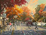The Period H1240 Thomas Kinkade Autumn on Mackinac Island,(20x30Inch)Only Canvas Oil Painting Home decoration Living Room Bedroom (Frameless)