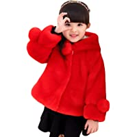Gaorui Girls' Faux Fur Jacket Hooded Cloak Coat Thick Warm Winter Outerwear Princess Cape