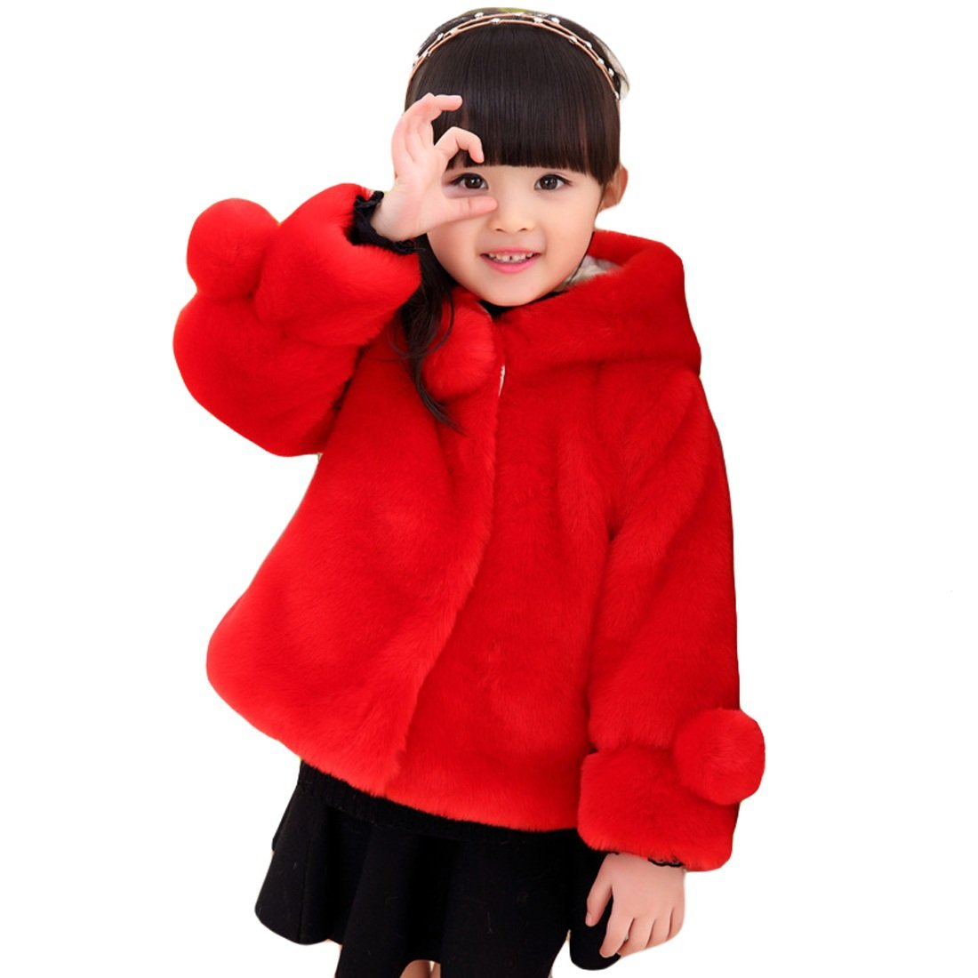 Girls Faux Fur Jacket Hooded Cloak Coat Thick Warm Winter Outerwear for 1-8 Years Kids