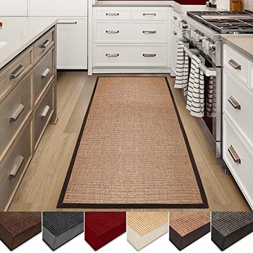 | Sisal Non-Slip Runner for Hallway or Kitchen | Environmentally-Friendly 100% Natural Fiber Throw Carpet | Cork- 2.6' x 9' (Runners Sisal Rug)