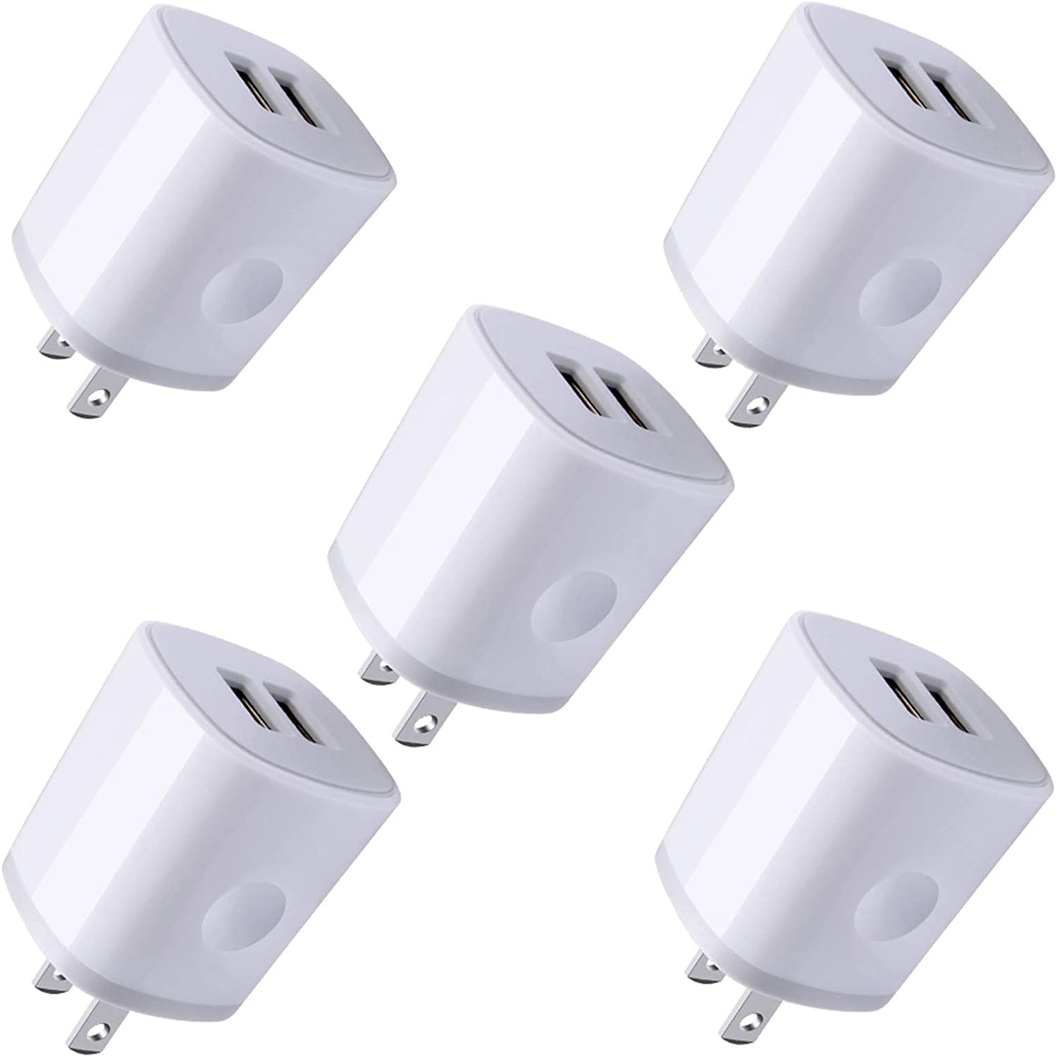 USB Wall Plug, Charger Block, 5Pack AndHot 2.1Amp 2-Port USB Wall Charger Home Travel Fast AC Power Adapter Compatible with iPhone 11 Pro/XS/XR/X/8/7/6 Plus, iPad, Samsung, Android, Kindle, LG, Moto