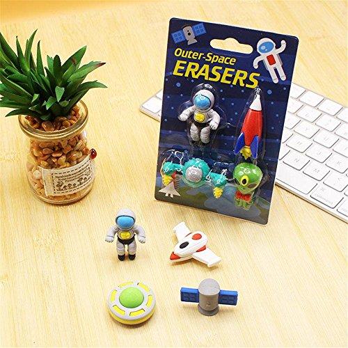 Mix Kawaii Cute Aerospace Astronaut rocket satellites UFO Shape toys stationery erasers for kids School student kids gift for items school students supplies animal lot (3Box/set) (Eraser Ufo)