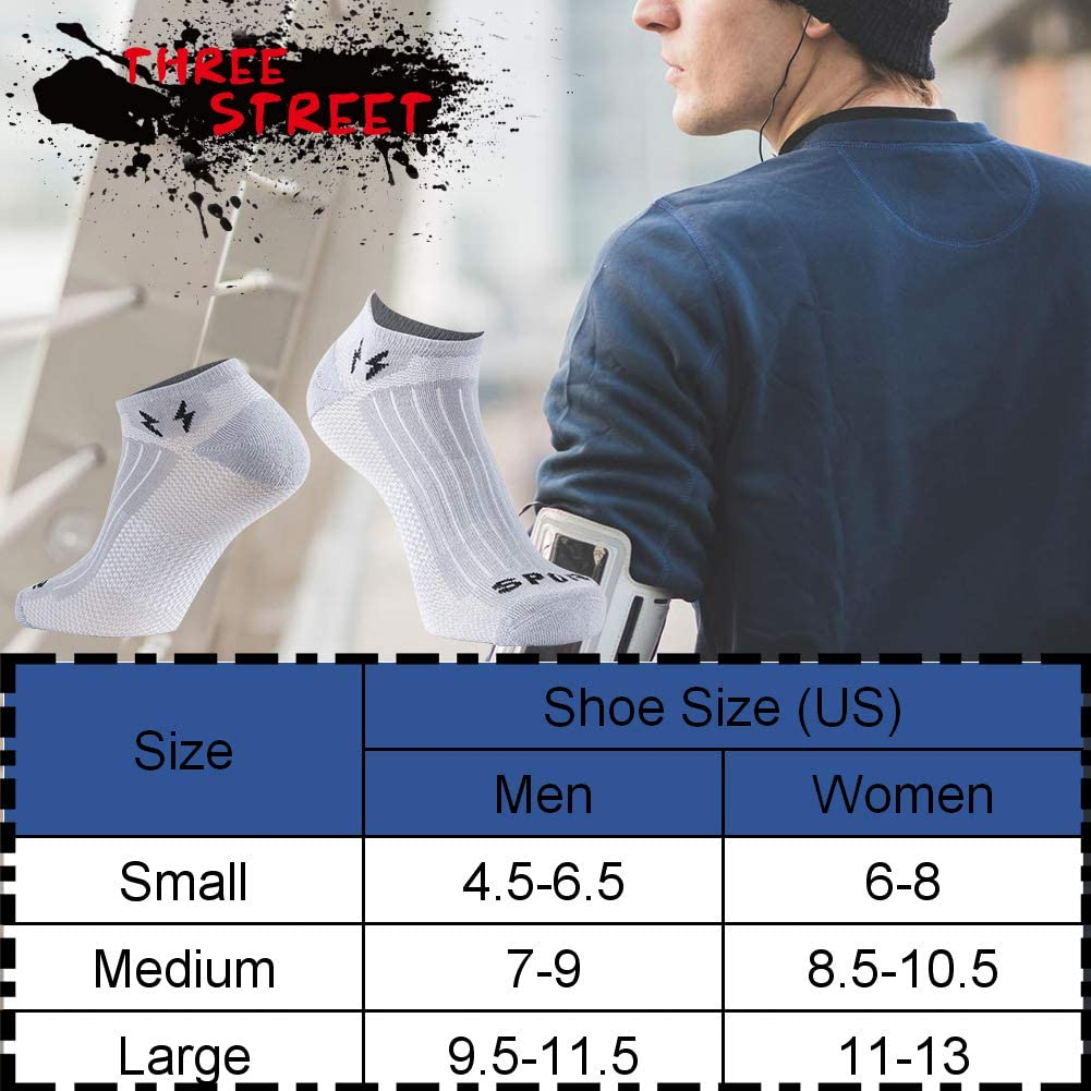 Three street Unisex COOLDRY Wicking Hiking Running Casual Ankle//Crew Socks 1-6 Pairs/