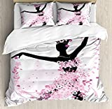 Latin 4 Piece Bedding Set Twin Size, Silhouette of a Woman Dancing Samba Salsa Latin Dances Spain and Mexico Culture Print, Duvet Cover Set Quilt Bedspread for Childrens/Kids/Teens/Adults, Pink Black