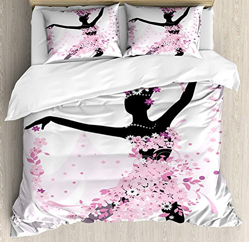 Latin Twin Duvet Cover Sets 4 Piece Bedding Set Bedspread with 2 Pillow Sham, Flat Sheet for Adult/Kids/Teens, Silhouette of a Woman Dancing Samba Salsa Latin Dances Spain and Mexico Culture Print by Family Decor