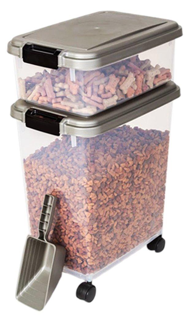 Myriad Pet Solutions 3 Piece Pet Food Storage Bin with Scoop, Silver
