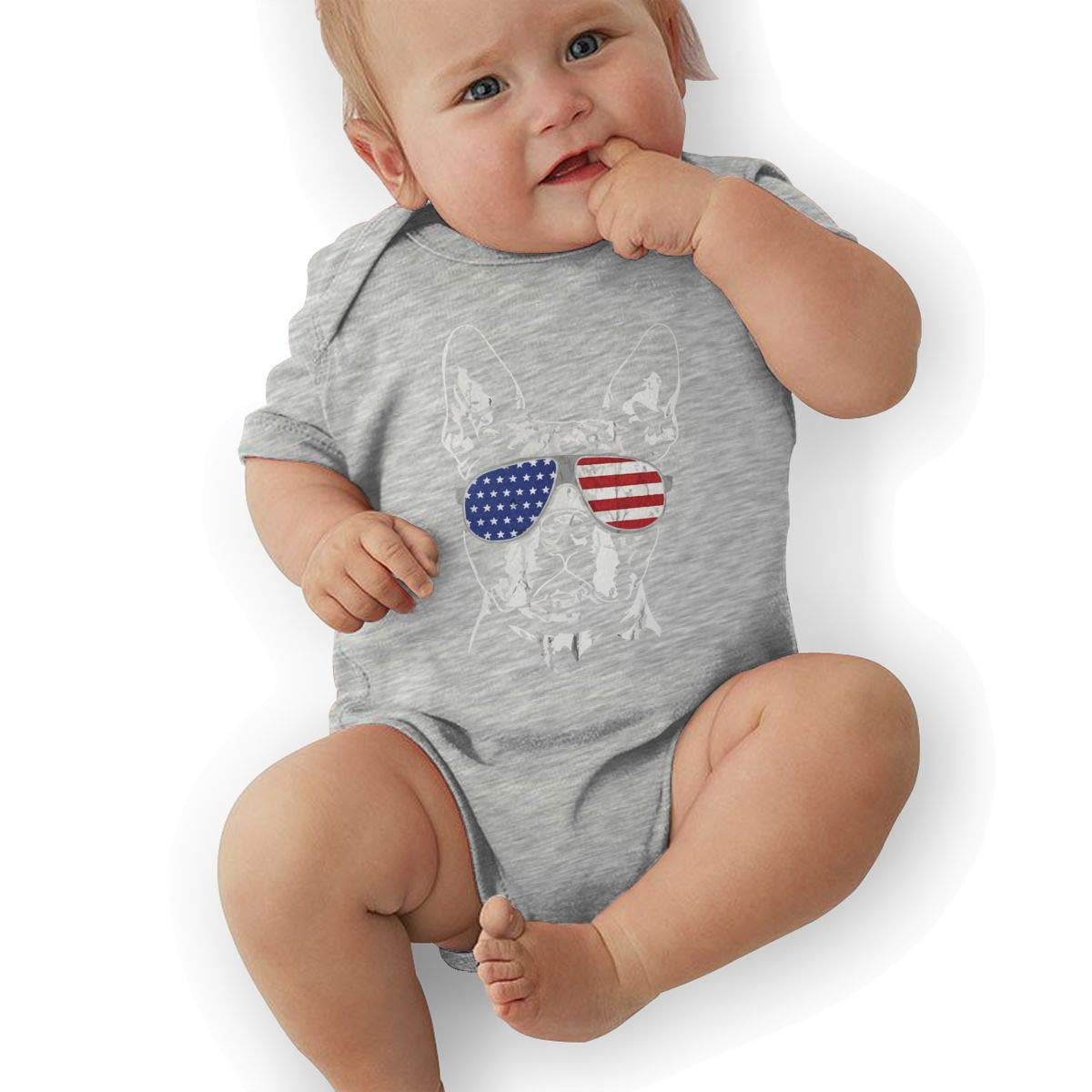 Boston Terrier with USA Flag Sunglasses Baby Rompers One Piece Jumpsuits Summer Outfits Clothes Gray