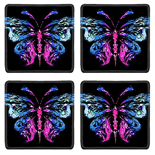 Liili Square Coasters Non-Slip Natural Rubber Desk Pads Abstract silhouette of a butterfly 28939349