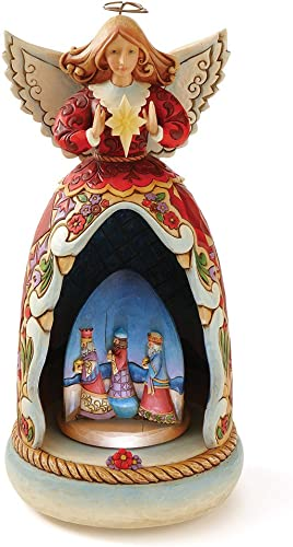 Enesco Jim Shore Heartwood Creek Angel Wind-Up Musical Lighted Revolving Nativity Diorama Figurine 10.5 Inch