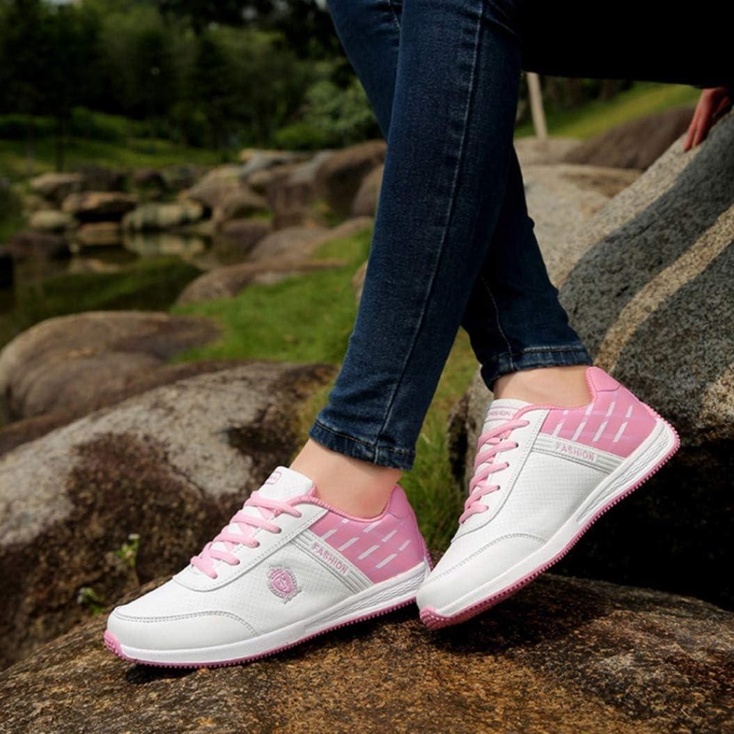 LangfengEU Chaussure de Course pour Running Jogging de Sport Outdoor Plate de Voyage en Textile Léger pour Femme Chaussure Forrest a Lacets Casual Confort Blanc