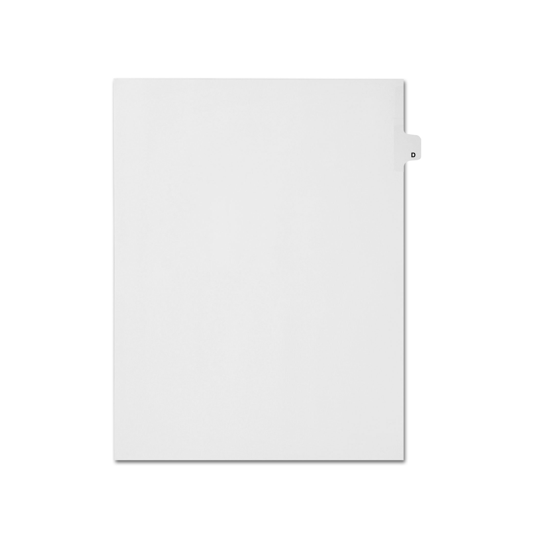 AMZfiling Individual Legal Index Tab Dividers, Compatible with Avery- Printed D, Letter Size, White, Side Tabs, Position 4 (25 Sheets/pkg)
