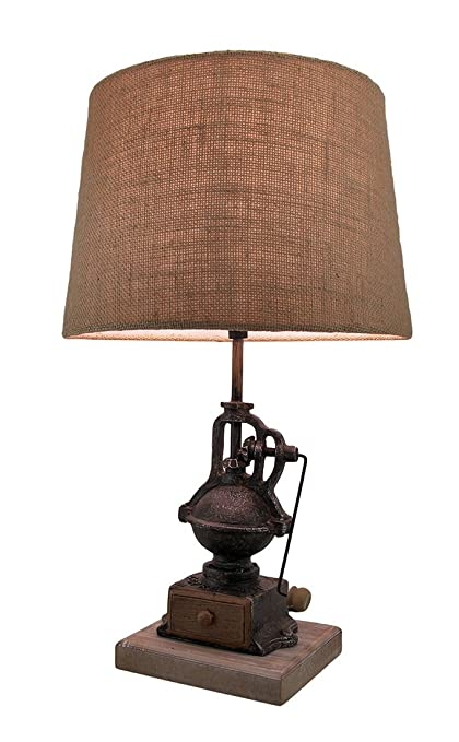 Resin table lamps antique finish vintage coffee grinder table lamp w resin table lamps antique finish vintage coffee grinder table lamp wburlap fabric shade 20 aloadofball Gallery