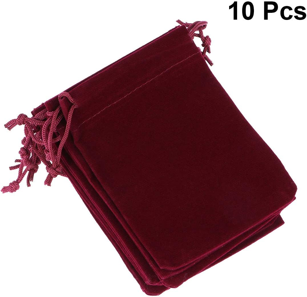 Lot de 10/Pochette /à bijoux en velours Pochette en velours pour mariage Party Sac cadeau 10/* 12/cm lianle Rot