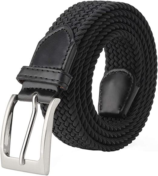 Webbing Design Woven Braided Elastic Stretchy Belt Leather Trim Unisex Waistband