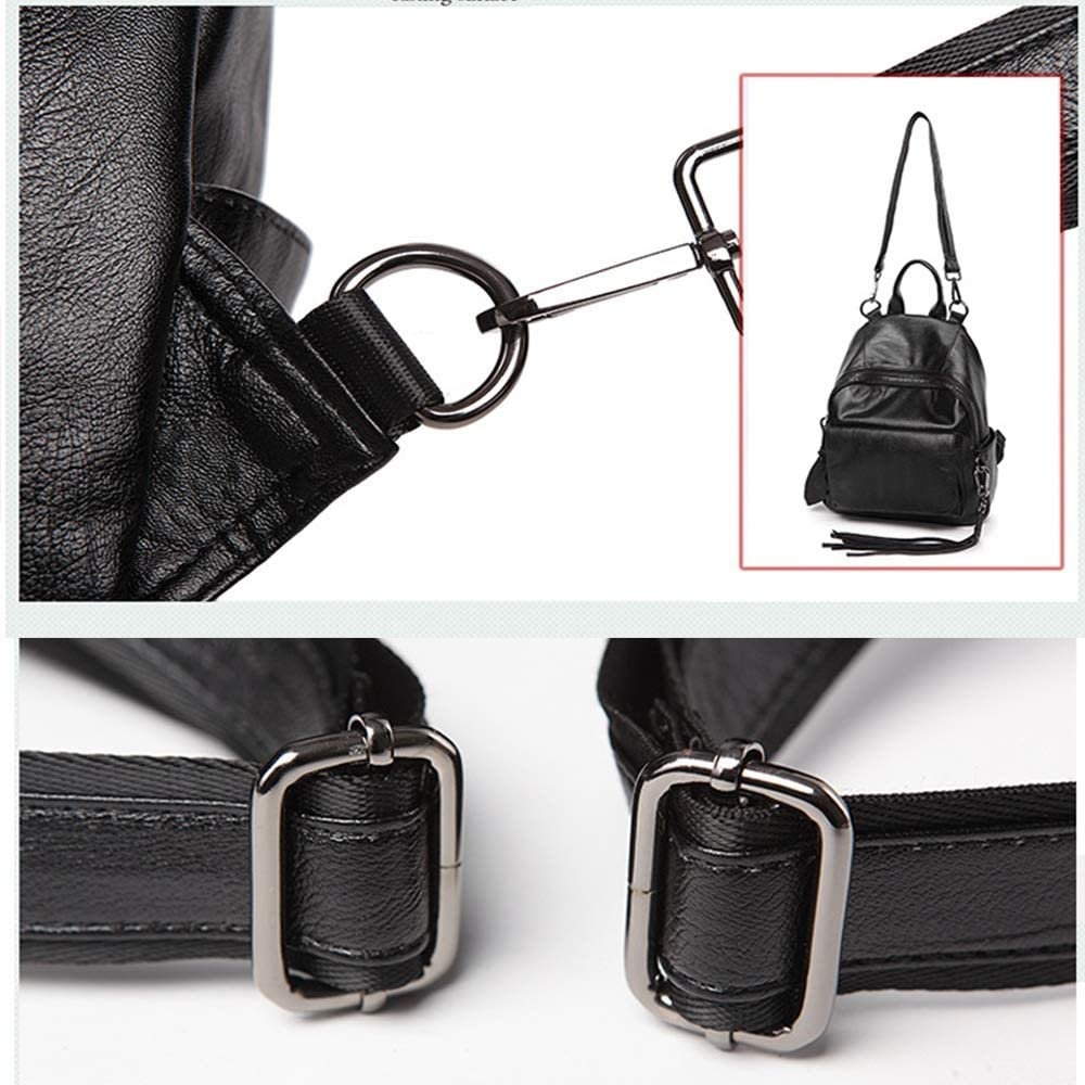 XJBHD Lady Backpack Fashion Casual Leather Bag Black Backpack Color : Black, Size : XS