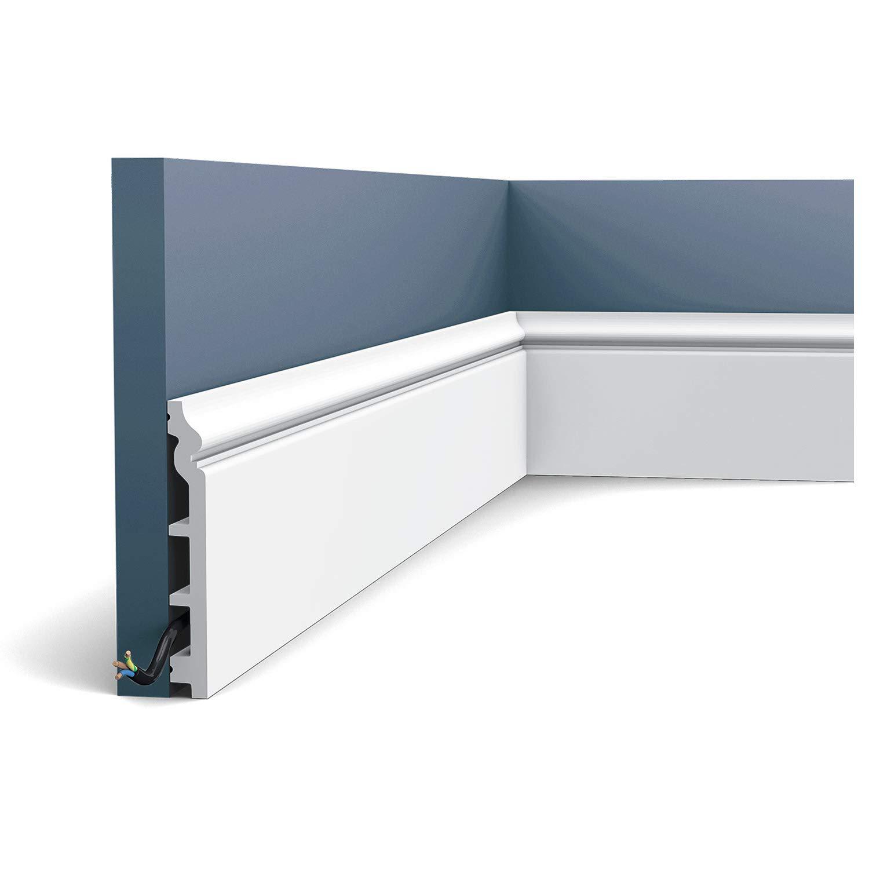 Plinthe Profil de d/écoration Orac Decor SX118 LUXXUS Protection de c/âble antichoc Moulure 2 m