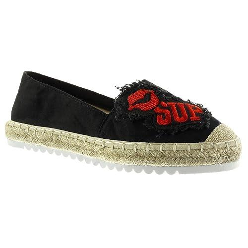 759b6296 Angkorly - Zapatillas Moda Alpargatas Mocasines Slip-on Suela de Zapatillas  Mujer fantasía Bordado Cuerda Talón tacón Plano 2.5 CM: Amazon.es: Zapatos  y ...