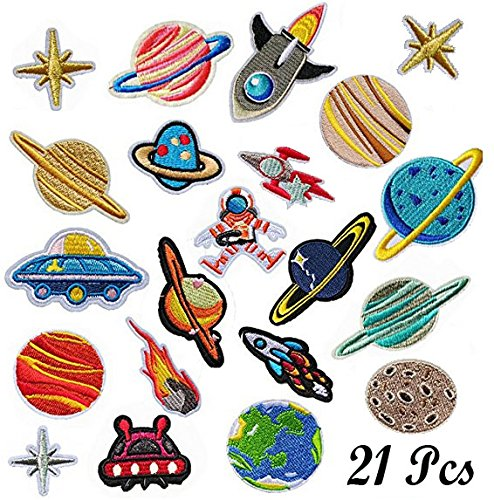 (Woohome Iron on Patches 21 PCS Solar System DIY Sew Decoration Appliques Stickers for Clothing, Backpack, Caps, Repair the Hole Stick)