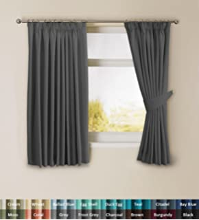 Homescapes Pewter Grey Luxury Chenille Pencil Pleat Lined Curtains ...