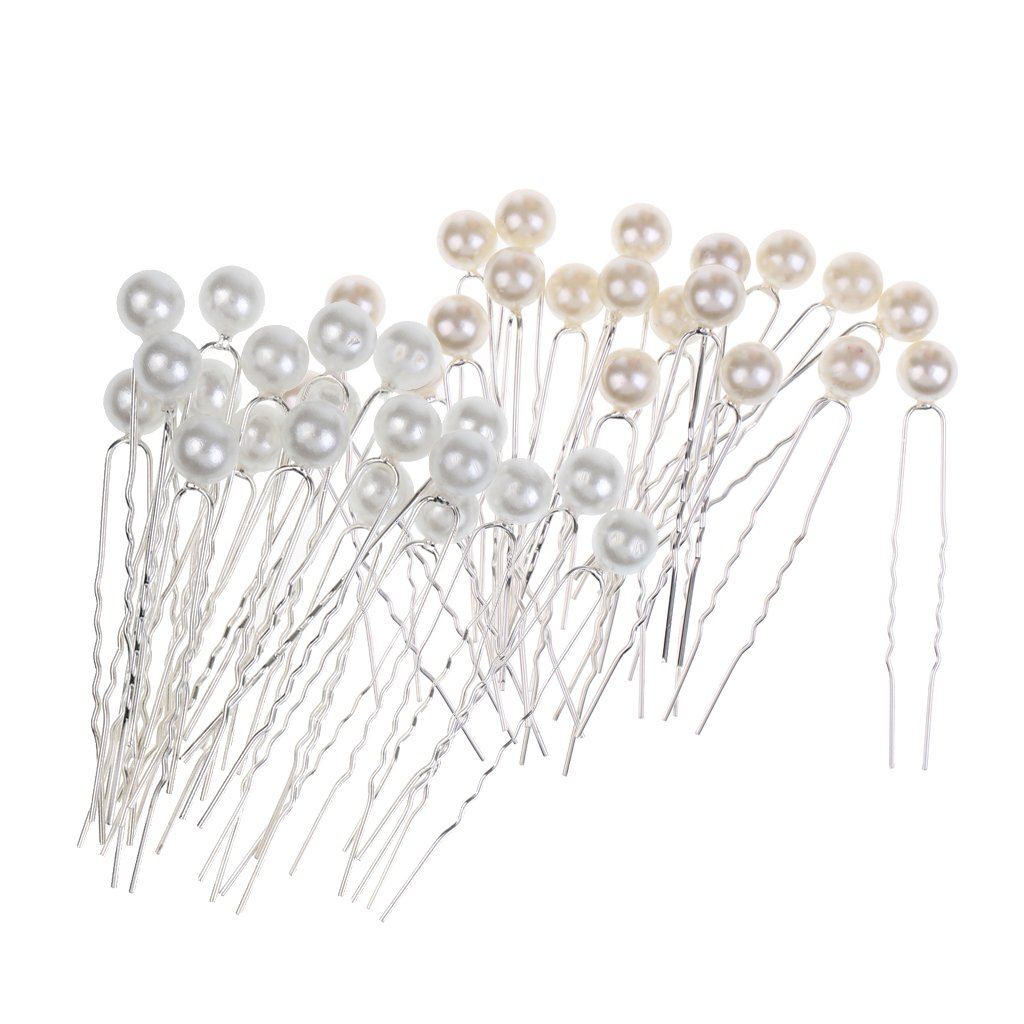 MagiDeal 40 Pieces/ Lot Faux Pearl Hair U Shaped Pins Clips Bridesmaids Fancy Jewelry Decorations STK0119371416