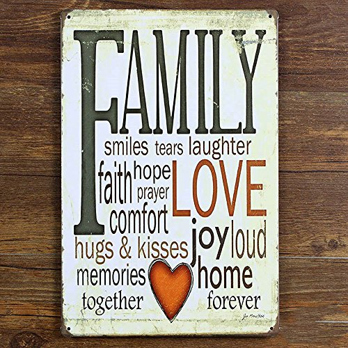 Eden Art- Family Love Retro Vintage Tin Sign, 8*12 (Welcome Tin)