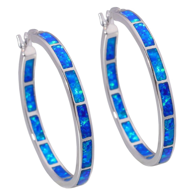 "CiNily Created Blue Fire Opal Women Jewelry Gemstone Rhodium Plated Hoop Earrings 1 3/8"""