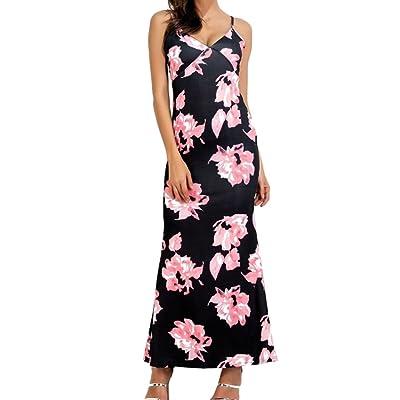 Boho Robe pour Femme - Mode Imprimé Floral Robes de Crayon Élégant Col en V Sans Manches Maxi Robes pour Fête Soirée Cocktail Plus la Taille