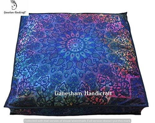 GANESHAM Handicraft -Indian Tapestry Dog or Cat Bed, Boho Decor Kids Bedding Mandala Meditation Cushion Boho Seating Living Room Decor Mandala Cushion Cover, Boho Floor Pillow, Bohemian
