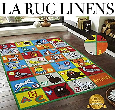 LA RUG LINENS Blowout Sale New 5x7 Kids Childrens Boys Girls Bedroom Playroom Nursery Classroom Baby Room ABC Alphabet Red Yellow Orange Green Blue Multicolor Jungle Animals Rug Carpet
