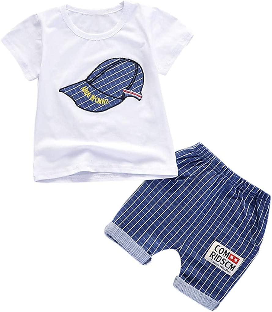 0-3T Toddler Infant Baby Boys Cute Tops Pants Sets Comfy Baseball Cap Print Short Sleeve T Shirt Plaid Pants Layette Sets