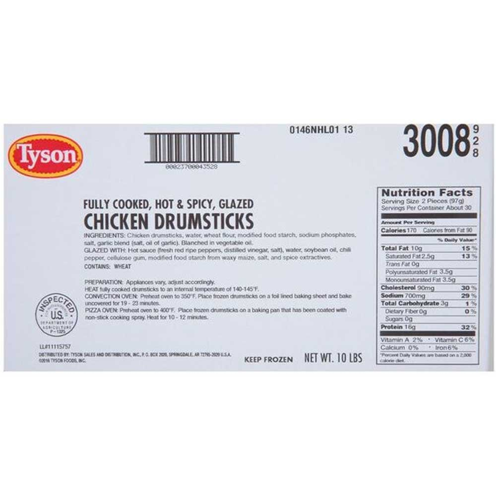 Tyson Fully Cooked Hot and Spicy Glazed Chicken Drumstick, 10 Pound - 1 each.