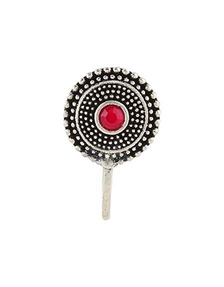 1f471d711d2 Buy Anuradha Art Silver Oxide Finish Round Shaped Classy Wonderful Clip-on  Nose Ring Pin for Women Online at Low Prices in India