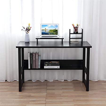 Computer Desk with Bookshelf, CrazyLynX Writing Desk with Metal Legs, Study Table Workstation with Desktop Book Rack Monitor Stand for Home Office Black, 47