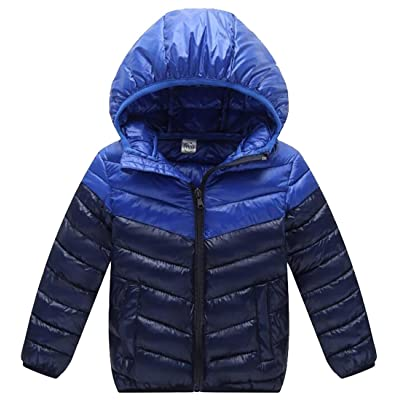 ONTBYB Baby Boys Girls Color Block Outerwear Hooded Puffer coats Winter Jacket Outwear
