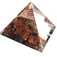 Orgon-Generator Pyramide, Orgonit aus 7 chakra Edelsteinen und Metallen, wandelt negative energie in positive energie - 70mm