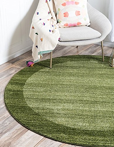 Unique Loom Del Mar Collection Light Green 6 ft Round Area Rug (6' x 6') Green Garden Rug