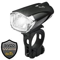 BIGO Eclairage Avant LED Ultra Puissant Lampe Vélo USB Rechargeable Lumière Avant VTT et VTC, Batterie au Lithium 1200 mAh (avec indicateur de Batterie Faible, câble USB Inclus)