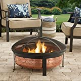 Modern Hammered Copper Metal Wood Burning Round Cauldron Patio Fire Pits for Outdoors - 30 Inch