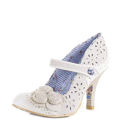 Irregular Choice Echo Cream Blue Womens Mary Jane Heels Shoes-8 23iG23t