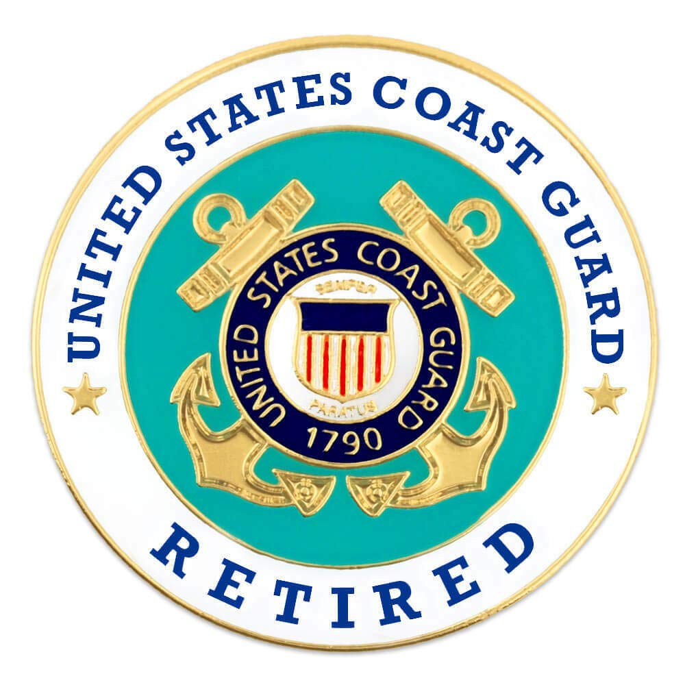 Handsome Enamel Lapel pins - U.S. Coast Guard Retired Military Enamel Lapel Pin - Unique Pins and Brooches by Pins for clothes