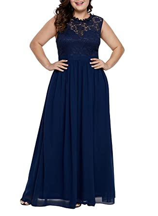 f50b843547 Elapsy Womens Plus Size Lace Bodice Sleeveless Long Maxi Dress Evening Prom  Gown at Amazon Women's Clothing store: