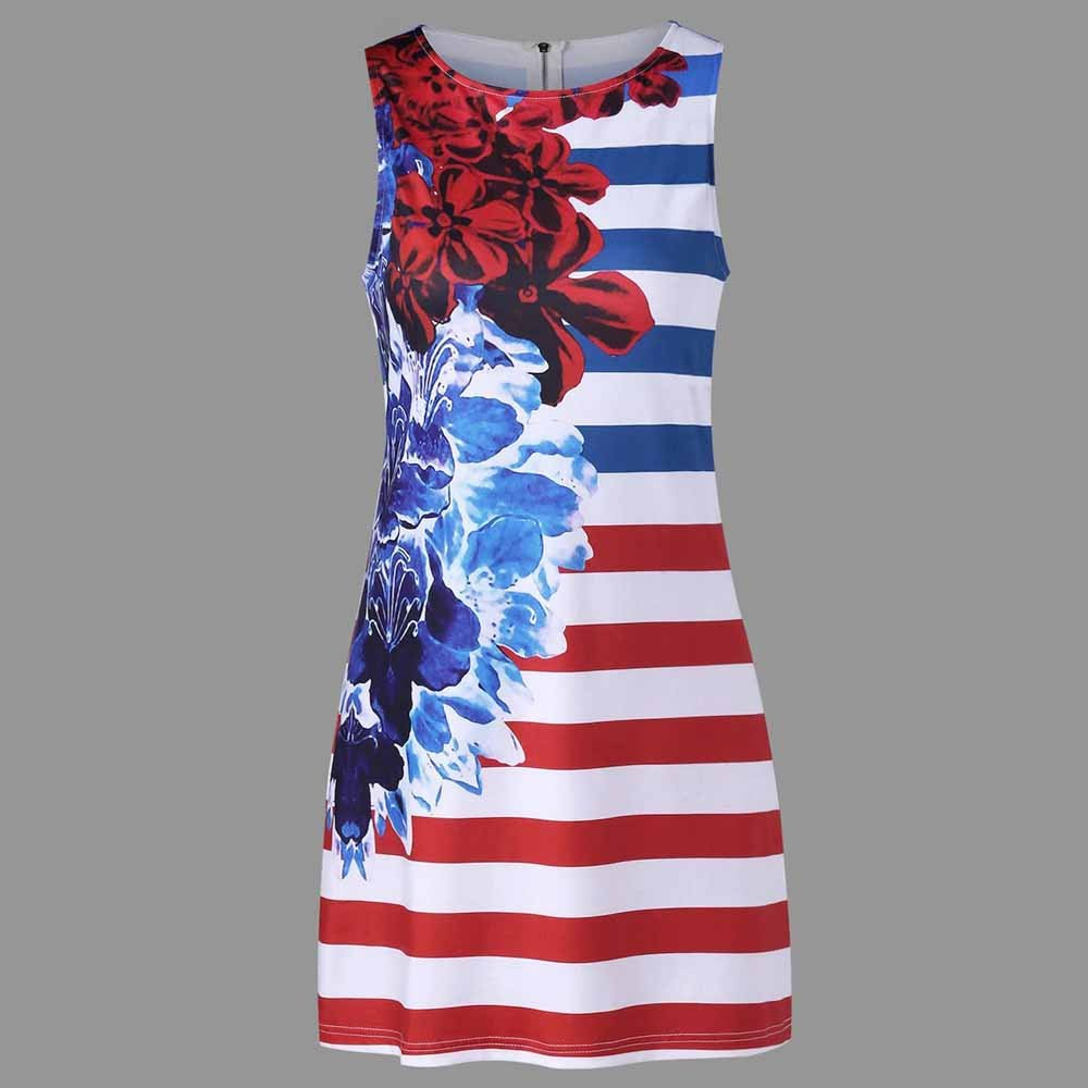 Women American Flag Vest Dress Printed Stripe Stitching O-Neck Sleeveless Maxi Mini Dress (S, Multicolor) by S&S-women (Image #2)