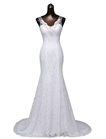 Ysmo Womens Lace Mermaid Prom Dresses Beaded V-Neck Wedding Dresses For Bride