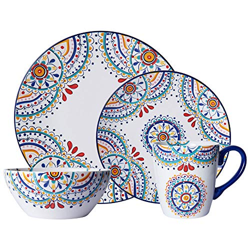 Piece 16 Dinnerware Porcelain Set - Pfaltzgraff 5229621 Delano 16-Piece Porcelain Dinnerware Set, Multi-Color