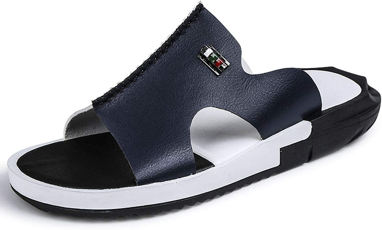 winkwink sandals Men Summer Slippers Peep Toe PU Flip Flops Shoes Male Outdoor Non-Slip Flat Beach Slides,Brown,12