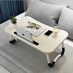Widousy Laptop Bed Table, Breakfast Tray with Foldable Legs, Portable Lap Standing Desk, Notebook Stand Reading Holder for Couch Sofa Floor Kids - Standard Size(White)