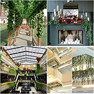 A-Decor 84 ft-12 Pack Artificial Ivy Vine Hanging Garland Fake Foliage Flowers Leaf Plants Home Garden Greenery Life-Like English Poison Ivy Wedding Party Strands Indoor Outdoor Wall Decor, Green 2