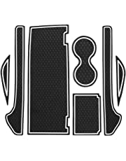 TOOGOO Non-Slip Interior Door Cup Arm Box Storage Mat Pad,Door,Console Liner Accessories for Tesla Modelx7 Pcs Set (Black White)