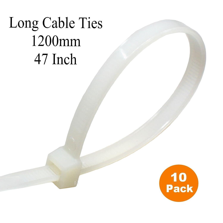 Extra lange Kabelbinder 1200 mm x 9 mm lang weiß/natur breit ...